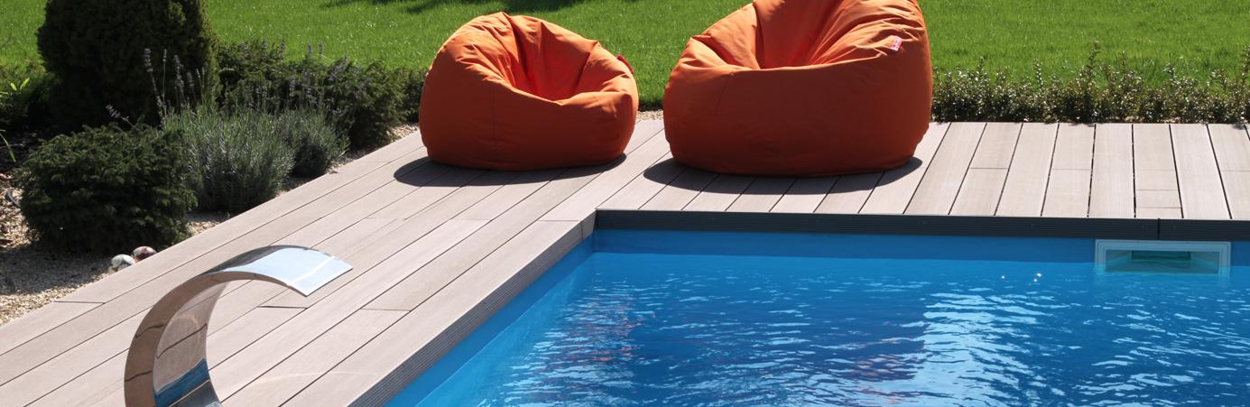 WPC als Poolumrandung im Garten
